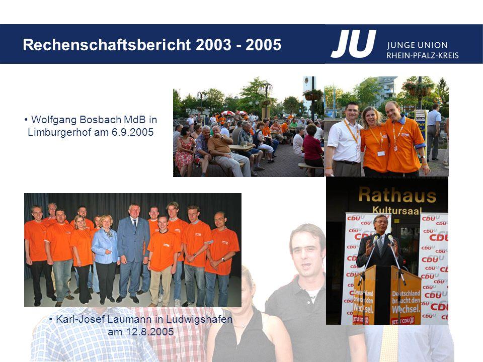 Rechenschaftsbericht 2003 - 2005 Wolfgang Bosbach MdB in Limburgerhof am 6.9.2005 Karl-Josef Laumann in Ludwigshafen am 12.8.2005