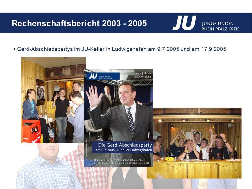 Rechenschaftsbericht 2003 - 2005 Gerd-Abschiedspartys im JU-Keller in Ludwigshafen am 9.7.2005 und am 17.9.2005