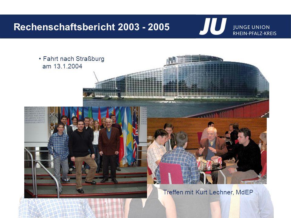 Rechenschaftsbericht 2003 - 2005 Fahrt nach Straßburg am 13.1.2004 Treffen mit Kurt Lechner, MdEP