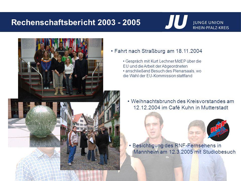 Rechenschaftsbericht 2003 - 2005 Fahrt nach Straßburg am 18.11.2004 Gespräch mit Kurt Lechner MdEP über die EU und die Arbeit der Abgeordneten anschließend Besuch des Plenarsaals, wo die Wahl der EU-Kommission stattfand Weihnachtsbrunch des Kreisvorstandes am 12.12.2004 im Café Kuhn in Mutterstadt Besichtigung des RNF-Fernsehens in Mannheim am 12.3.2005 mit Studiobesuch