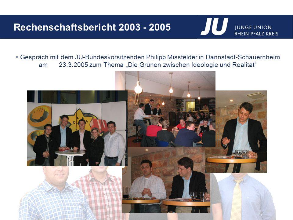Rechenschaftsbericht 2003 - 2005 Gespräch mit dem JU-Bundesvorsitzenden Philipp Missfelder in Dannstadt-Schauernheim am 23.3.2005 zum Thema Die Grünen zwischen Ideologie und Realität