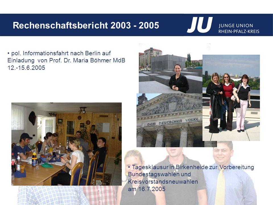 Rechenschaftsbericht 2003 - 2005 pol.Informationsfahrt nach Berlin auf Einladung von Prof.