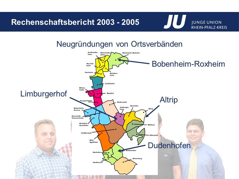 Rechenschaftsbericht 2003 - 2005 Neugründungen von Ortsverbänden Limburgerhof Dudenhofen Altrip Bobenheim-Roxheim