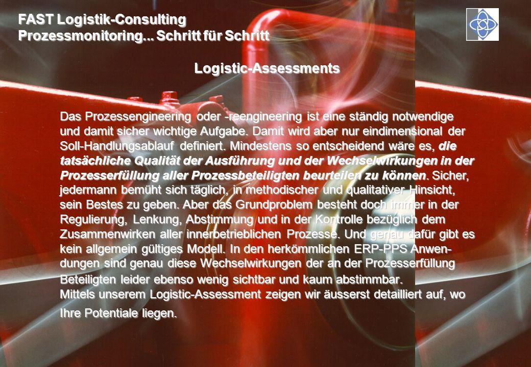 FAST Logistik-Consulting Prozessmonitoring... Schritt für Schritt Logistic-Assessments Das Prozessengineering oder -reengineering ist eine ständig not