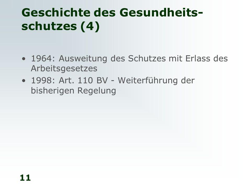 11 Geschichte des Gesundheits- schutzes (4) 1964: Ausweitung des Schutzes mit Erlass des Arbeitsgesetzes 1998: Art. 110 BV - Weiterführung der bisheri