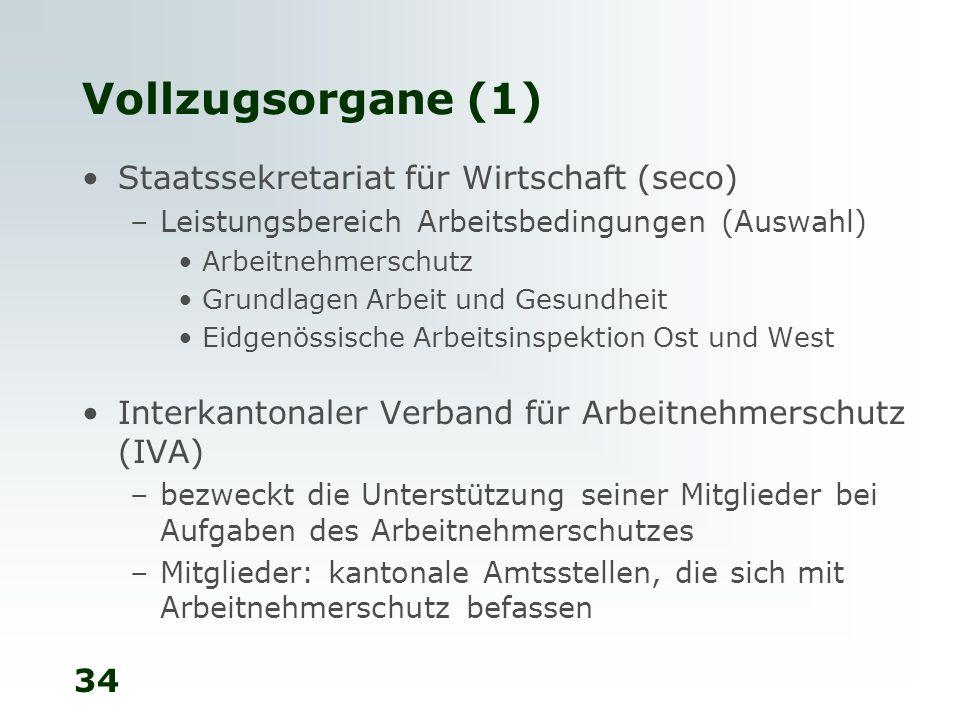 34 Vollzugsorgane (1) Staatssekretariat für Wirtschaft (seco) –Leistungsbereich Arbeitsbedingungen (Auswahl) Arbeitnehmerschutz Grundlagen Arbeit und