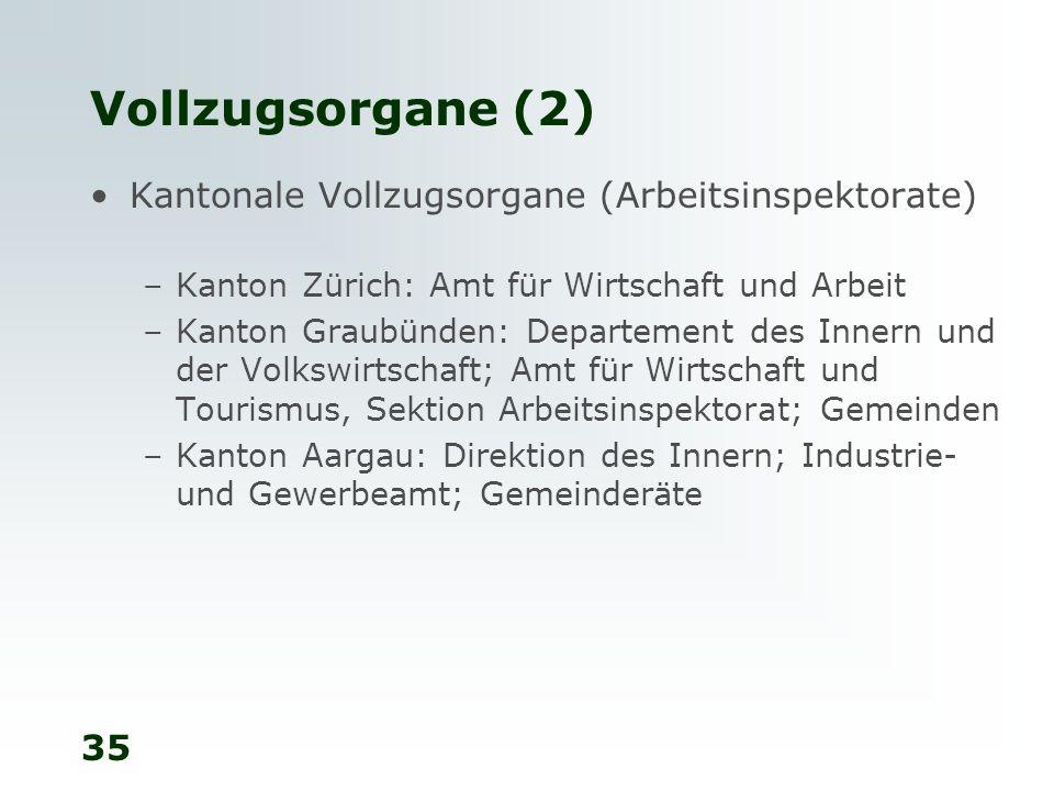 35 Vollzugsorgane (2) Kantonale Vollzugsorgane (Arbeitsinspektorate) –Kanton Zürich: Amt für Wirtschaft und Arbeit –Kanton Graubünden: Departement des