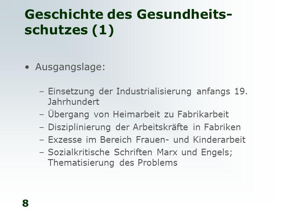 9 Geschichte des Gesundheits- schutzes (2) Beschränkung der Arbeitszeit im Kanton Glarus 1846, Ergänzung durch ein Gesetz über die Fabrikpolizei 1873 Bis 1873 Erlass von Arbeitsgesetzen auch in den Kantonen St.
