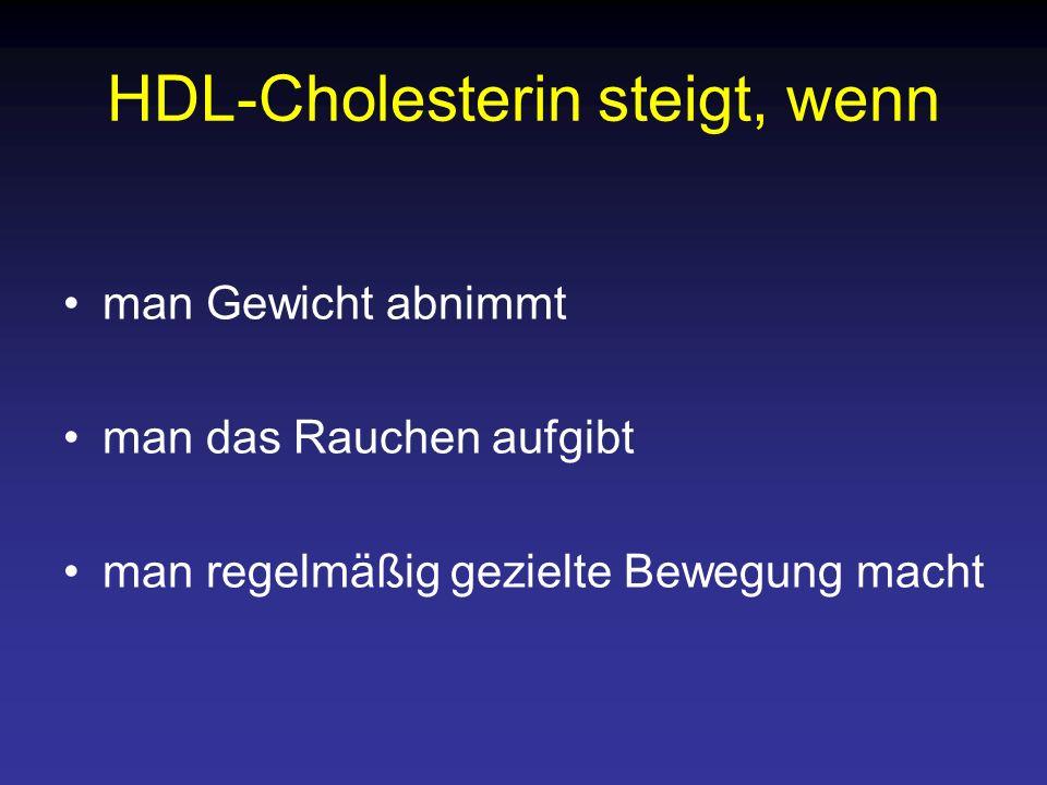 HDL-Cholesterin steigt, wenn man Gewicht abnimmt man das Rauchen aufgibt man regelmäßig gezielte Bewegung macht