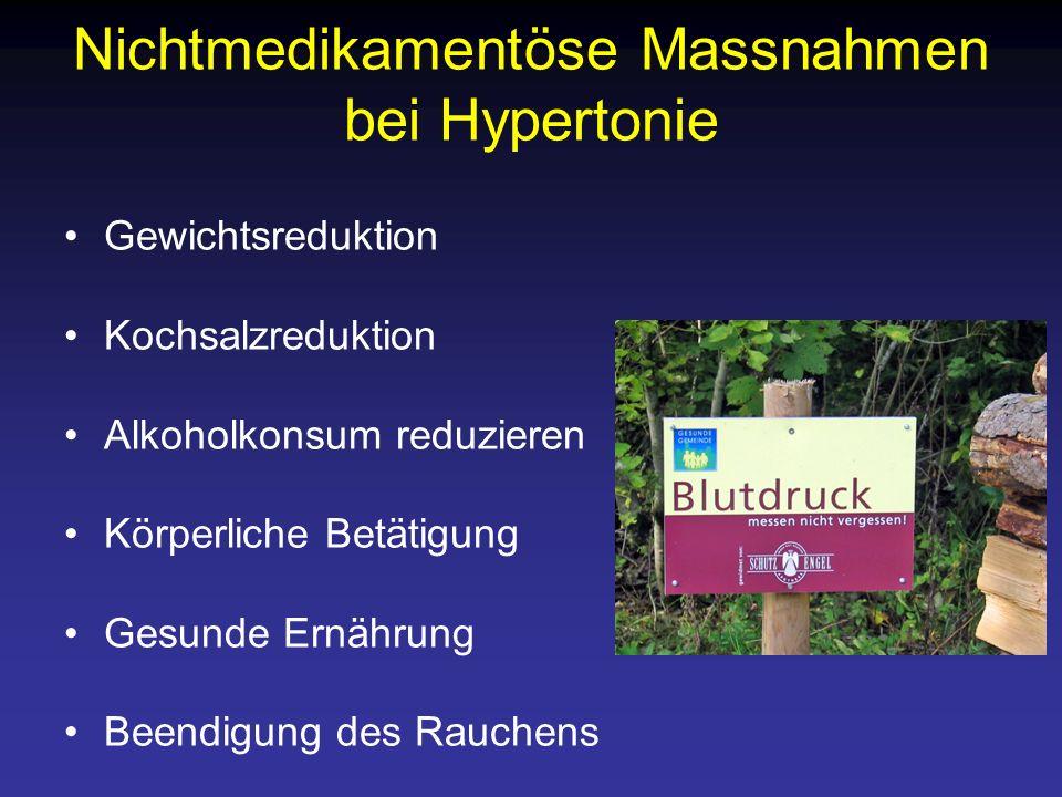 Nichtmedikamentöse Massnahmen bei Hypertonie Gewichtsreduktion Kochsalzreduktion Alkoholkonsum reduzieren Körperliche Betätigung Gesunde Ernährung Bee