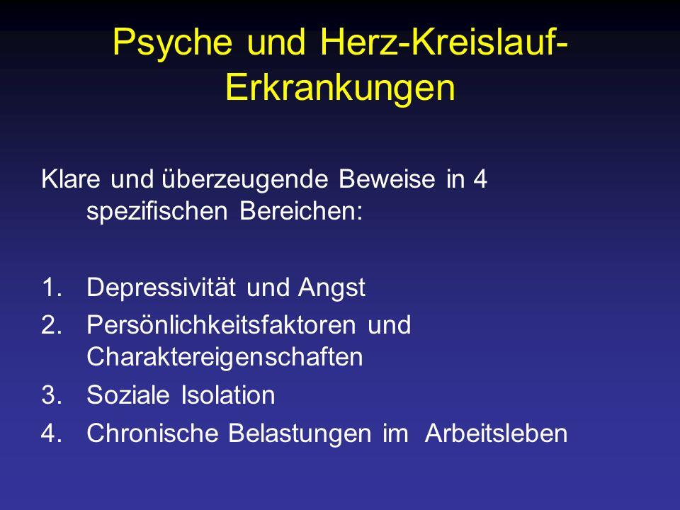 Psyche und Herz-Kreislauf- Erkrankungen Klare und überzeugende Beweise in 4 spezifischen Bereichen: 1.Depressivität und Angst 2.Persönlichkeitsfaktore