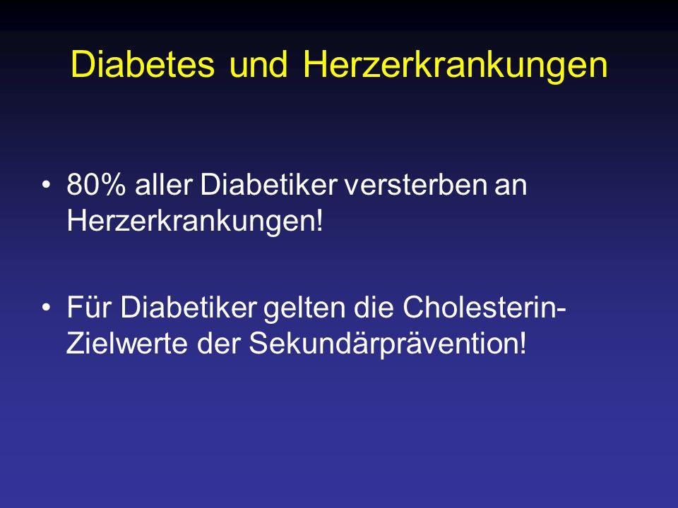 Diabetes und Herzerkrankungen 80% aller Diabetiker versterben an Herzerkrankungen! Für Diabetiker gelten die Cholesterin- Zielwerte der Sekundärpräven