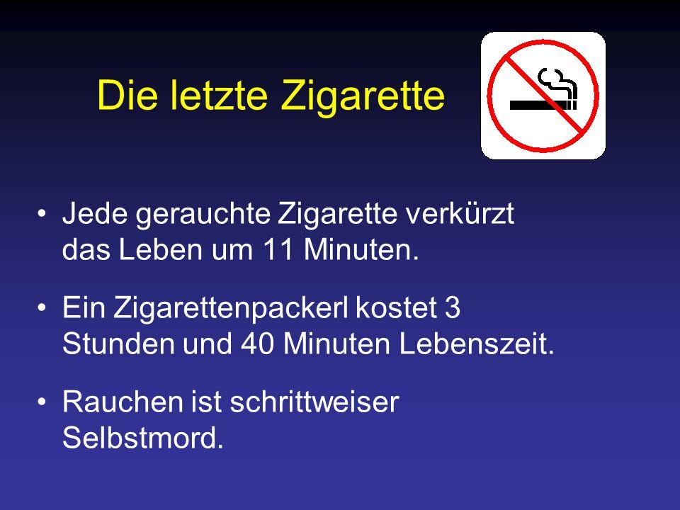 Die letzte Zigarette Jede gerauchte Zigarette verkürzt das Leben um 11 Minuten. Ein Zigarettenpackerl kostet 3 Stunden und 40 Minuten Lebenszeit. Rauc