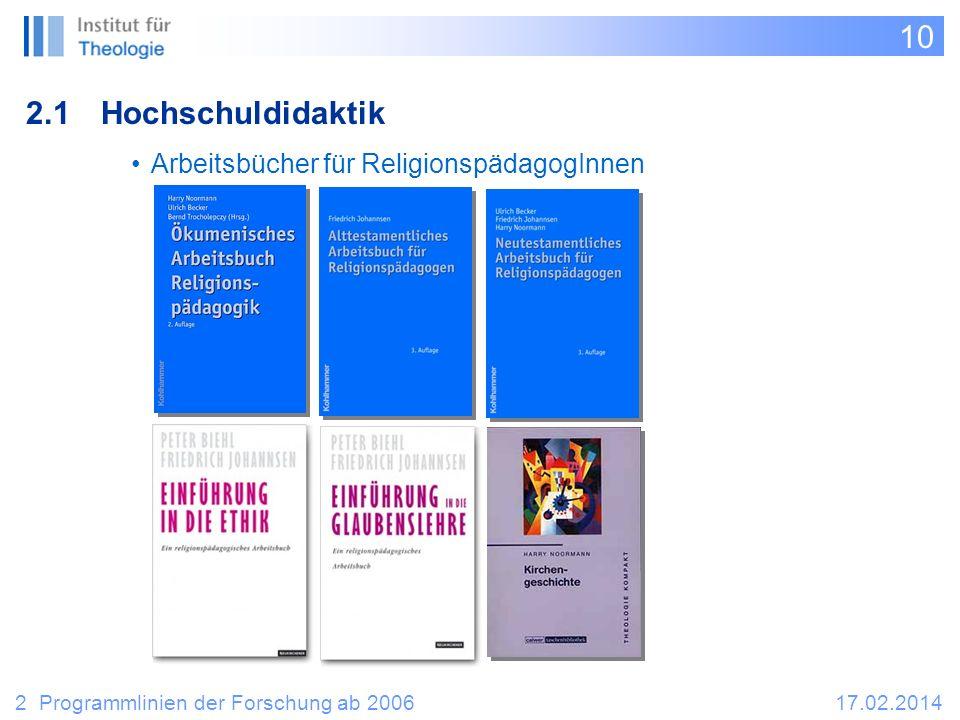 10 2.1Hochschuldidaktik 2 Programmlinien der Forschung ab 200617.02.2014 Arbeitsbücher für ReligionspädagogInnen