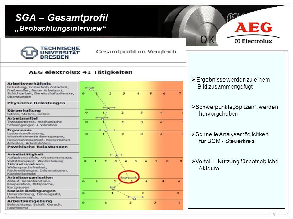 6 SGA – Gesamtprofil Beobachtungsinterview Ergebnisse werden zu einem Bild zusammengefügt Schwerpunkte Spitzen, werden hervorgehoben Schnelle Analysem