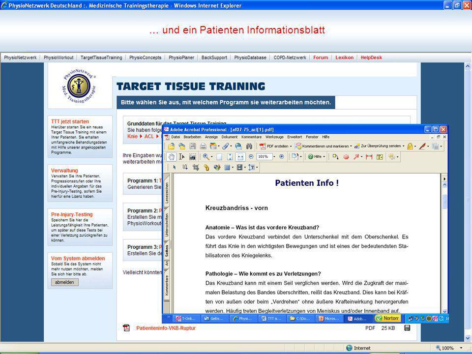 … und ein Patienten Informationsblatt