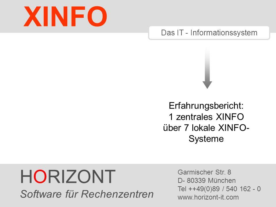HORIZONT 12 XINFO ® Aktivierung XLTDSN /* TRANSLATIONTABLE */ XLTDSN = P390A.XXR.XLTDSN.ZENTRAL ADDRESS ISPEXEC VPUT (XLTDSN) SHARED Ergänzung XINFO Aufruf-Rexx um die Zuordnung der Translationtable, in der die Joblibs je Umgebung auf die neuen Dateinamen verweisen Siehe Multi Client Support Administration (CD:..\products\xinfo\v3r2\docu\english\xxrdmlte.pdf)