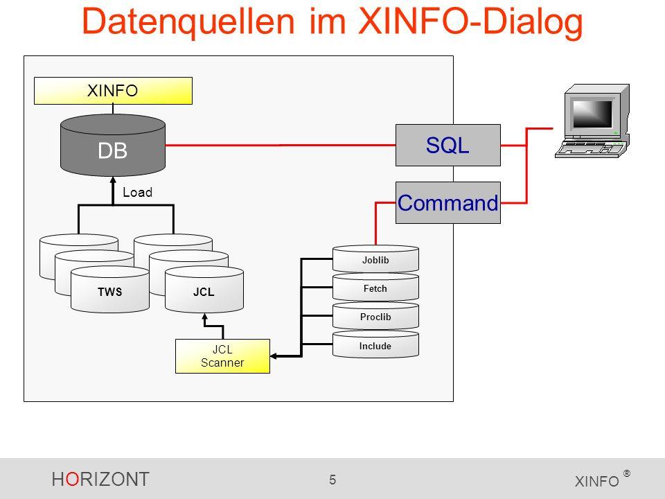 HORIZONT 16 XINFO ® Zentrale XINFO Installation ADDPOP ROW(5) COLUMN(5) DISPLAY PANEL(XXRP#) REMPOP ALL IF A = Z THEN, SELECT CMD(%XXRXAZ XXRARG ) NEWAPPL(XXR) PASSLIB ELSE, SELECT CMD(%XXRXA XXRARG ) NEWAPPL(XXR) PASSLIB Anpassen Aufruf-Rexx Aufruf der neuen Umgebung Aufruf POP-UP Panel zur Auswahl der Umgebung ------ Select Installation ------ L = Local XINFO Z = Zentral XINFO..............................