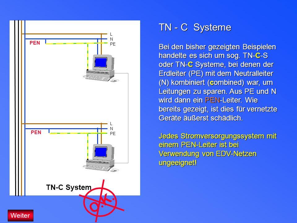 TN - C Systeme Bei den bisher gezeigten Beispielen handelte es sich um sog. TN-C-S oder TN-C Systeme, bei denen der Erdleiter (PE) mit dem Neutralleit