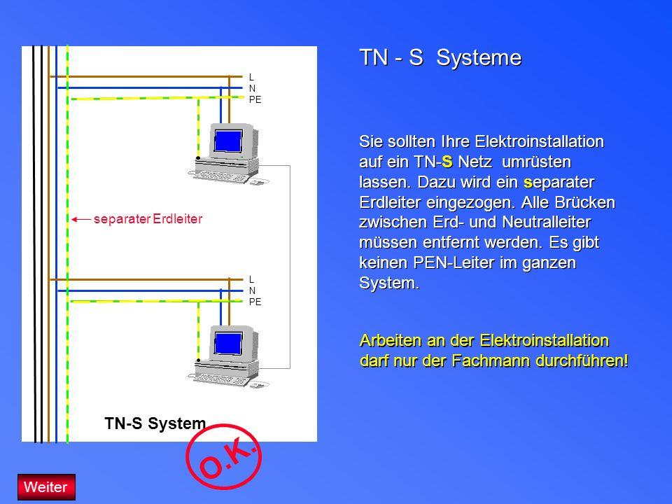 TN - S Systeme Sie sollten Ihre Elektroinstallation auf ein TN-S Netz umrüsten lassen. Dazu wird ein separater Erdleiter eingezogen. Alle Brücken zwis