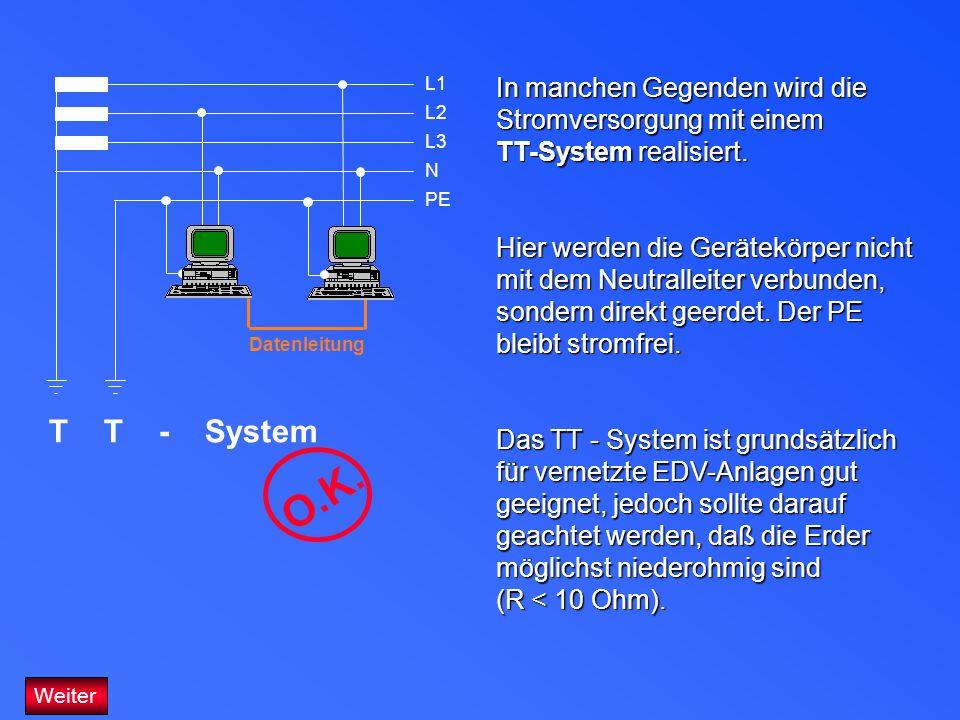 In manchen Gegenden wird die Stromversorgung mit einem TT-System realisiert. Hier werden die Gerätekörper nicht mit dem Neutralleiter verbunden, sonde
