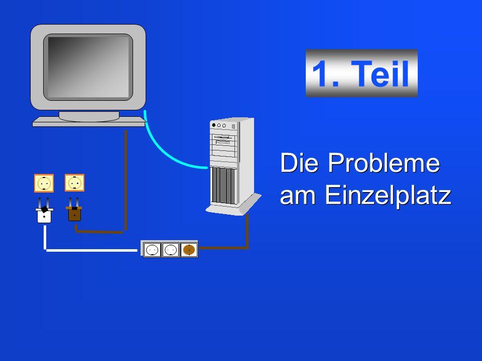 Auch EDV-Geräte am Einzelplatz sind untereinander mit Datenleitungen verbunden.