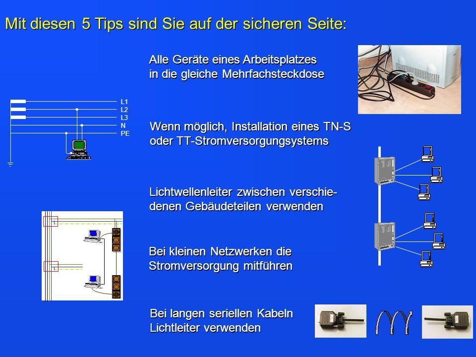 L1 L2 L3 N PE Alle Geräte eines Arbeitsplatzes in die gleiche Mehrfachsteckdose Wenn möglich, Installation eines TN-S oder TT-Stromversorgungsystems L
