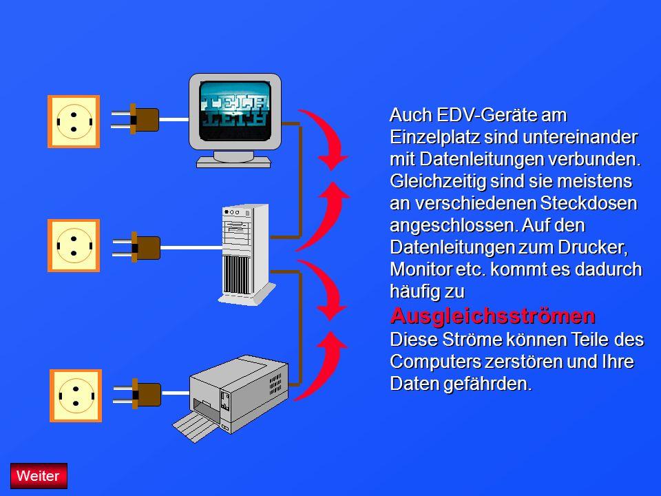 Auch EDV-Geräte am Einzelplatz sind untereinander mit Datenleitungen verbunden. Gleichzeitig sind sie meistens an verschiedenen Steckdosen angeschloss