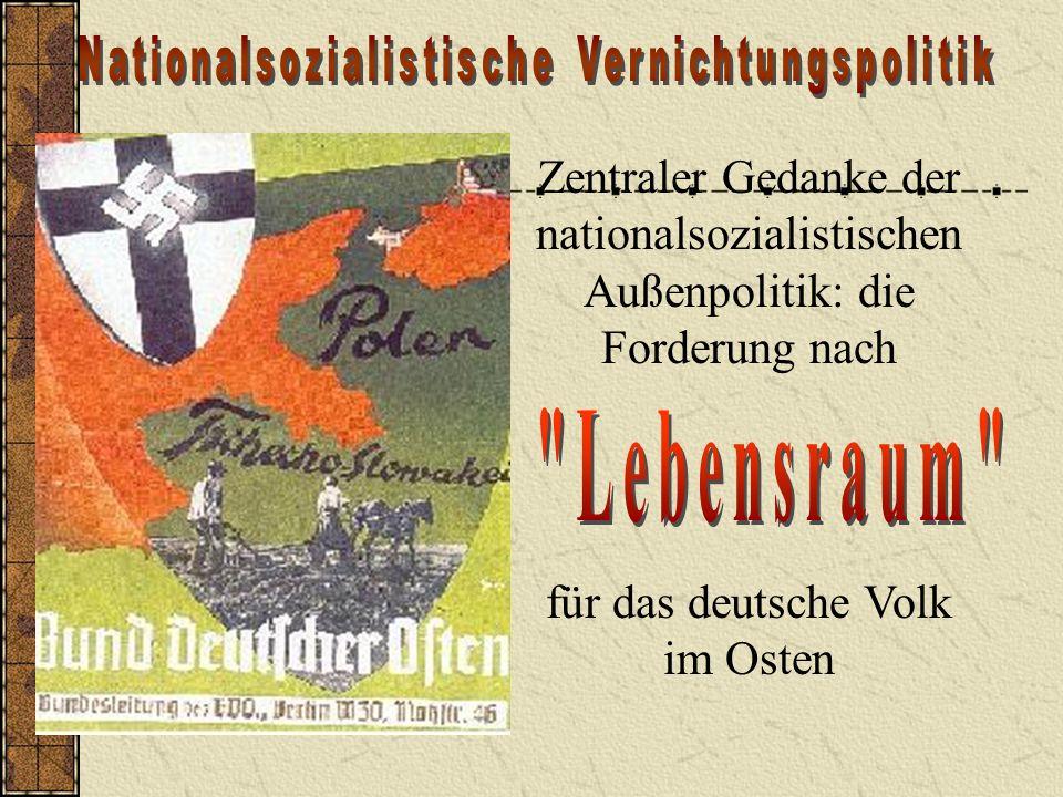 Zentraler Gedanke der nationalsozialistischen Außenpolitik: die Forderung nach für das deutsche Volk im Osten