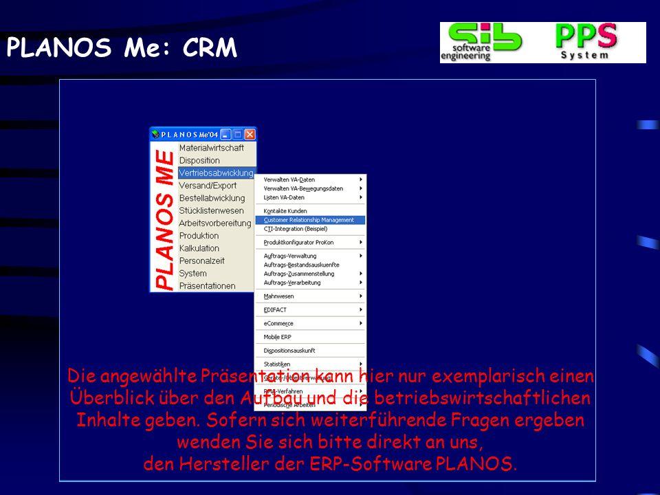 PLANOS Me: CRM Die angewählte Präsentation kann hier nur exemplarisch einen Überblick über den Aufbau und die betriebswirtschaftlichen Inhalte geben.
