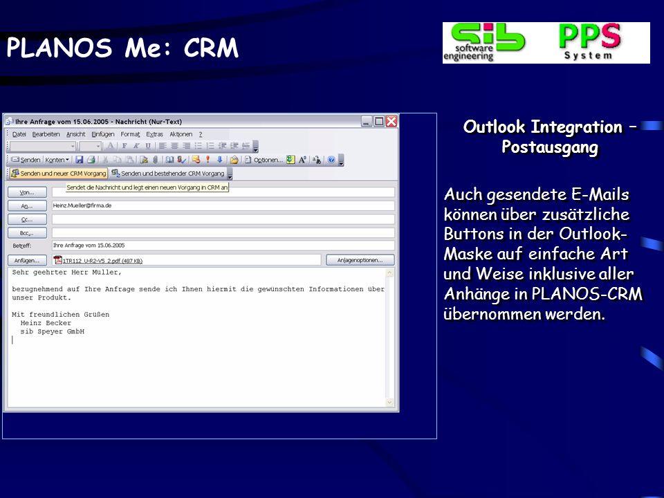 PLANOS Me: CRM Posteingang – Bestehender CRM-Vorgang Die Mail kann auch einem bereits im CRM-Modul an- gelegten Vorgang hinzu- gefügt werden.