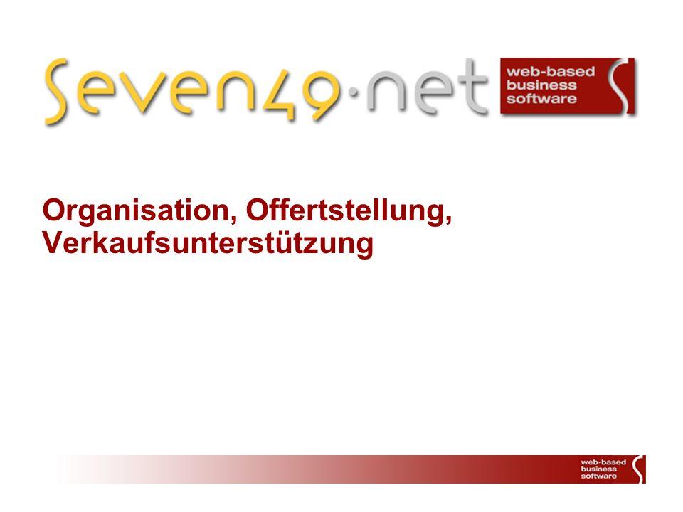 Organisation, Offertstellung, Verkaufsunterstützung
