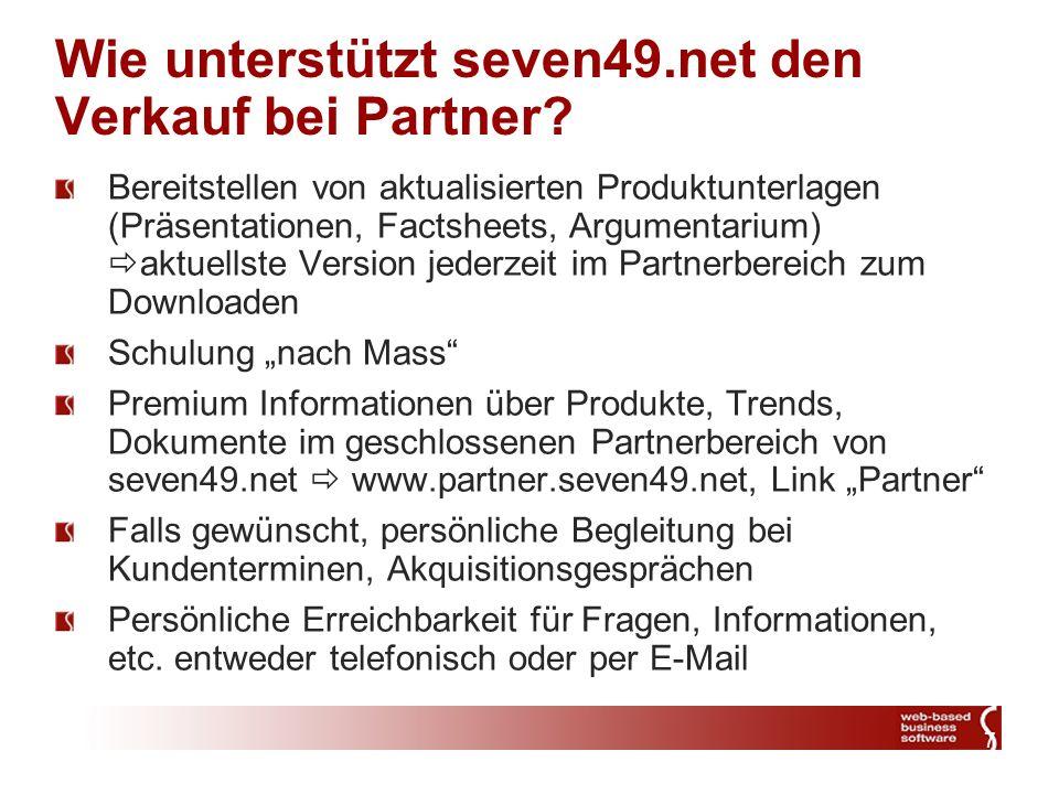 7 Wie unterstützt seven49.net den Verkauf bei Partner.