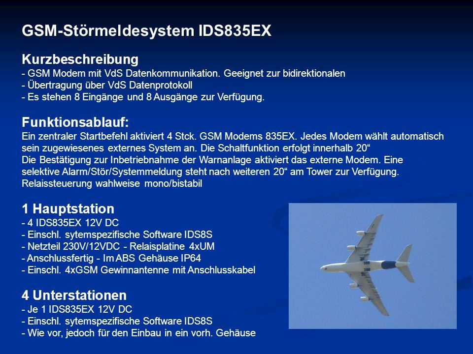 GSM-Störmeldesystem IDS835EX Kurzbeschreibung - GSM Modem mit VdS Datenkommunikation. Geeignet zur bidirektionalen - Übertragung über VdS Datenprotoko