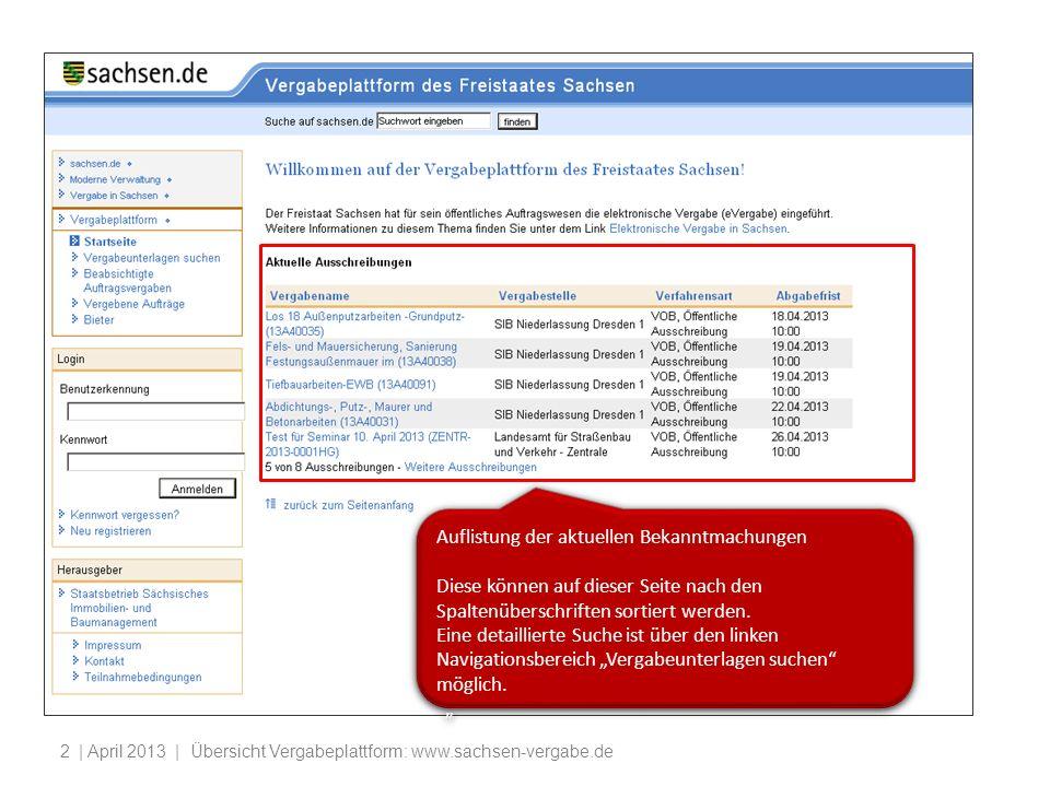 | April 2013 | Übersicht Vergabeplattform: www.sachsen-vergabe.de2 Auflistung der aktuellen Bekanntmachungen Diese können auf dieser Seite nach den Spaltenüberschriften sortiert werden.