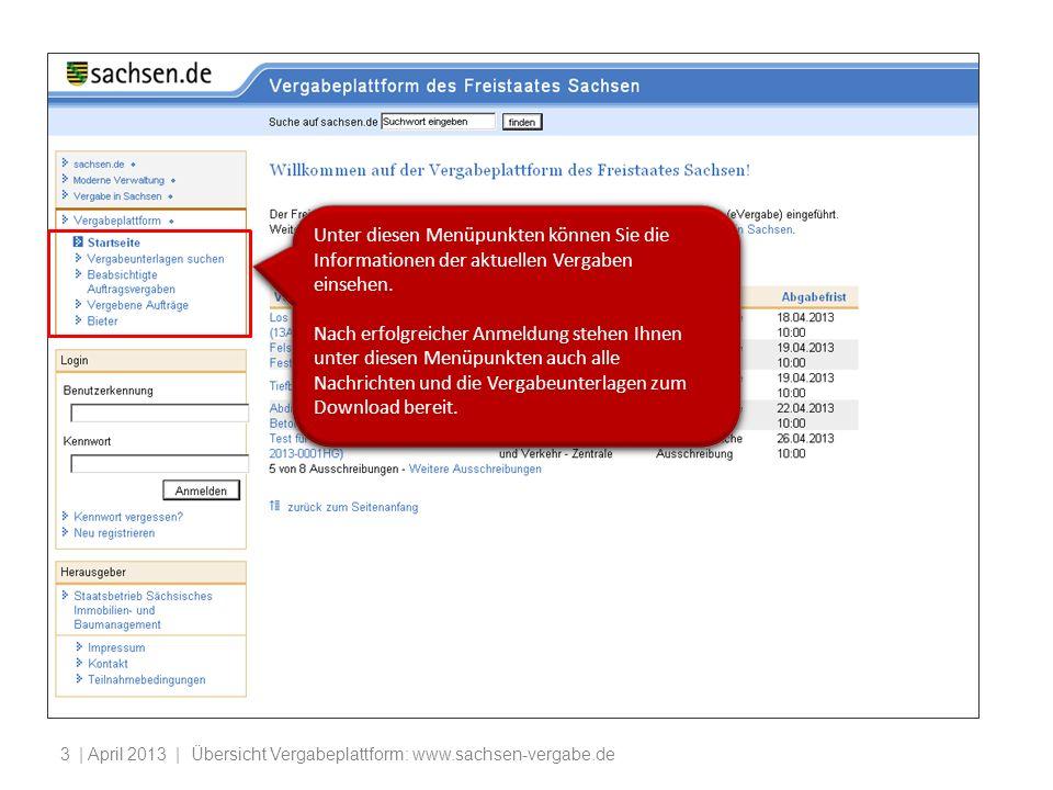 | April 2013 | Übersicht Vergabeplattform: www.sachsen-vergabe.de4 An dieser Stelle erfolgt die Anmeldung (Login) bzw.