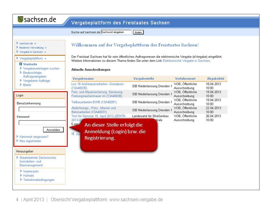 | April 2013 | Übersicht Vergabeplattform: www.sachsen-vergabe.de5 Allgemeine Informationen über Herausgeber und Betreiber der Vergabeplattform sowie Teilnahmebedingungen