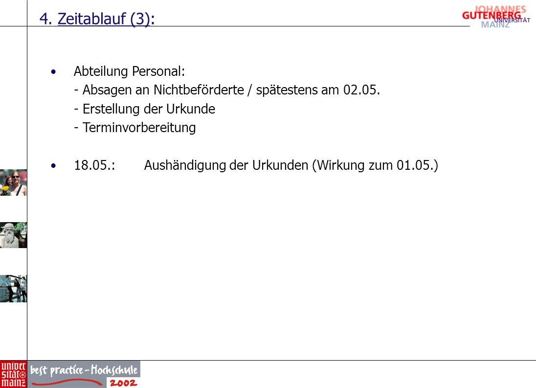 4. Zeitablauf (3): Abteilung Personal: - Absagen an Nichtbeförderte / spätestens am 02.05. - Erstellung der Urkunde - Terminvorbereitung 18.05.:Aushän