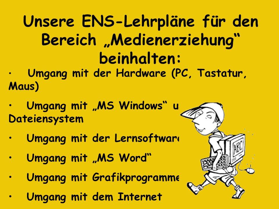 Umgang mit der Hardware (PC, Tastatur, Maus) Umgang mit MS Windows und dem Dateiensystem Umgang mit der Lernsoftware Umgang mit MS Word Umgang mit Gra