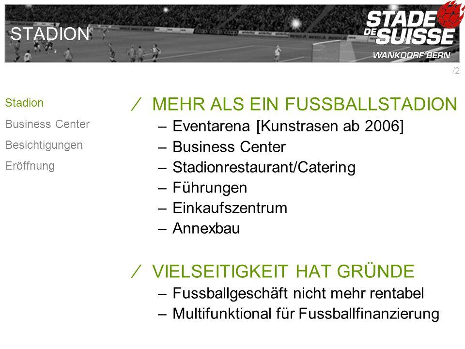 /2 STADION MEHR ALS EIN FUSSBALLSTADION –Eventarena [Kunstrasen ab 2006] –Business Center –Stadionrestaurant/Catering –Führungen –Einkaufszentrum –Ann