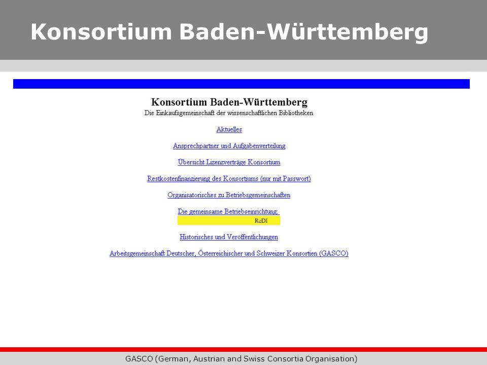 GASCO (German, Austrian and Swiss Consortia Organisation) Konsortium Baden-Württemberg