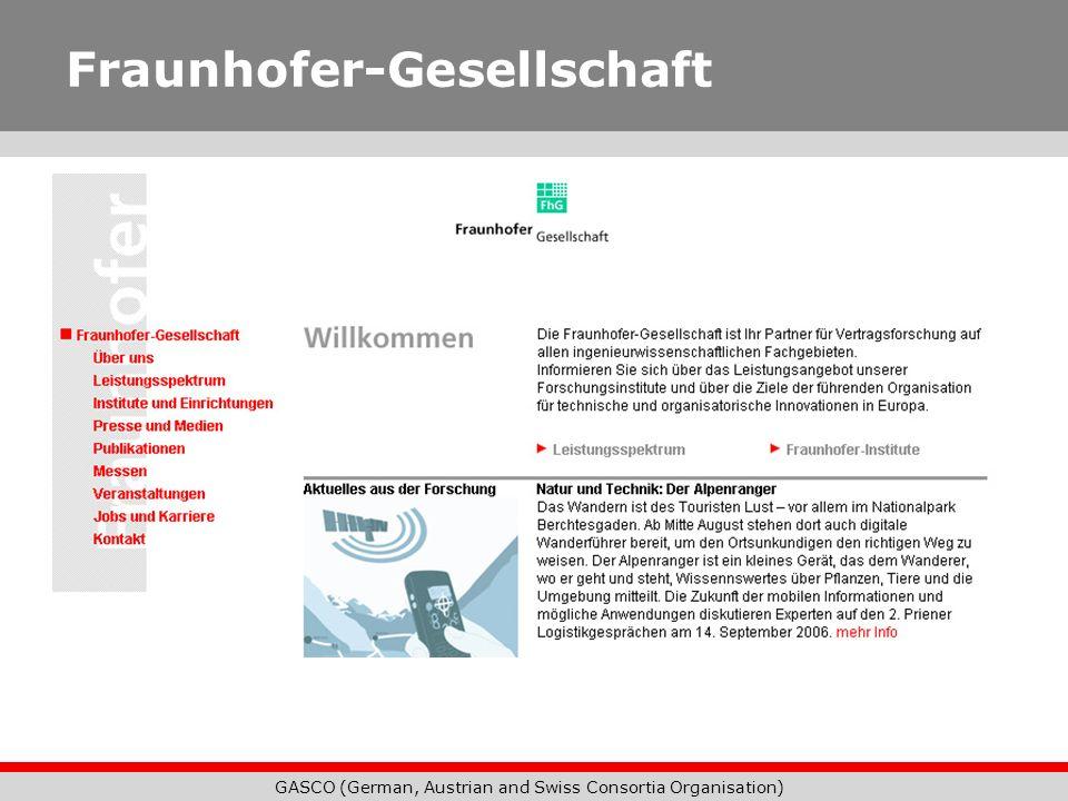 GASCO (German, Austrian and Swiss Consortia Organisation) Fraunhofer-Gesellschaft