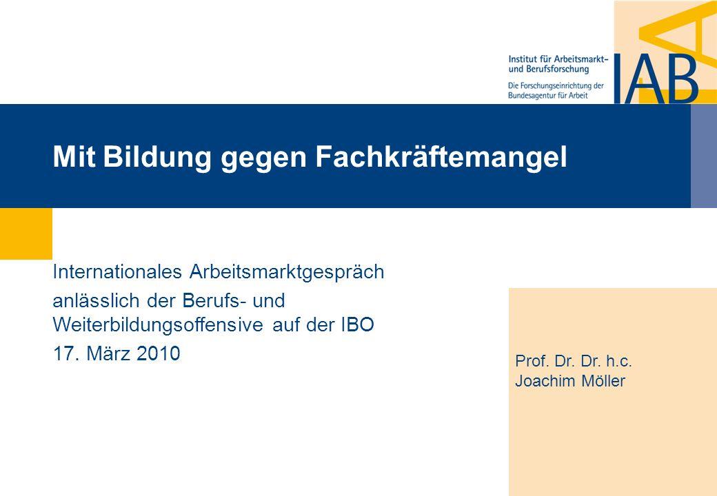 Mit Bildung gegen Fachkräftemangel Prof. Dr. Dr. h.c. Joachim Möller Internationales Arbeitsmarktgespräch anlässlich der Berufs- und Weiterbildungsoff