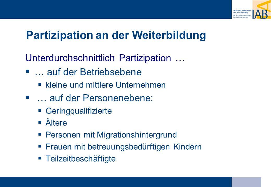 Partizipation an der Weiterbildung Unterdurchschnittlich Partizipation … … auf der Betriebsebene kleine und mittlere Unternehmen … auf der Personenebe