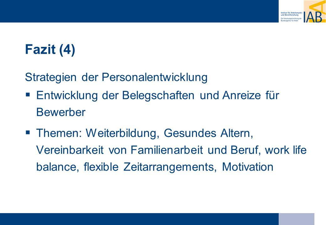 Fazit (4) Strategien der Personalentwicklung Entwicklung der Belegschaften und Anreize für Bewerber Themen: Weiterbildung, Gesundes Altern, Vereinbark