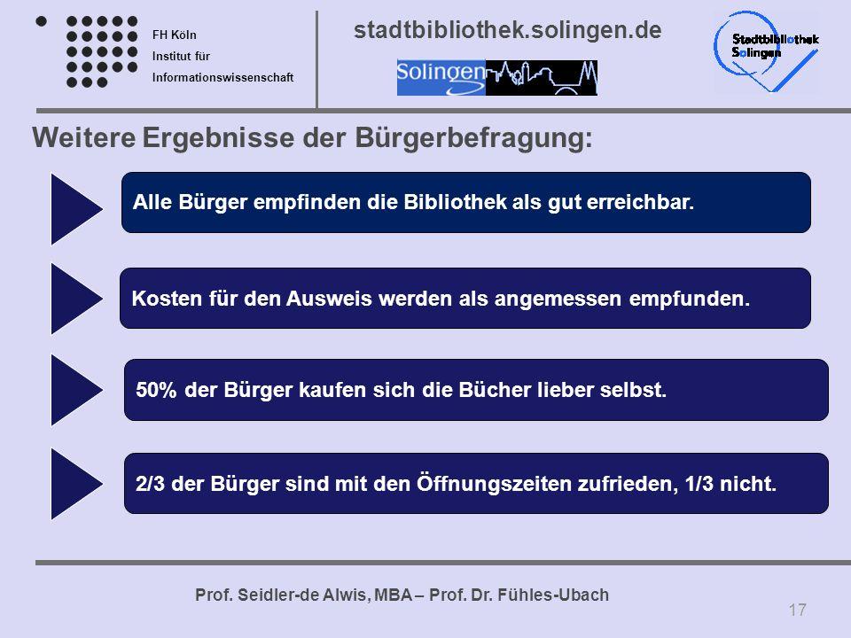 FH Köln Institut für Informationswissenschaft Prof. Seidler-de Alwis, MBA – Prof. Dr. Fühles-Ubach stadtbibliothek.solingen.de Weitere Ergebnisse der