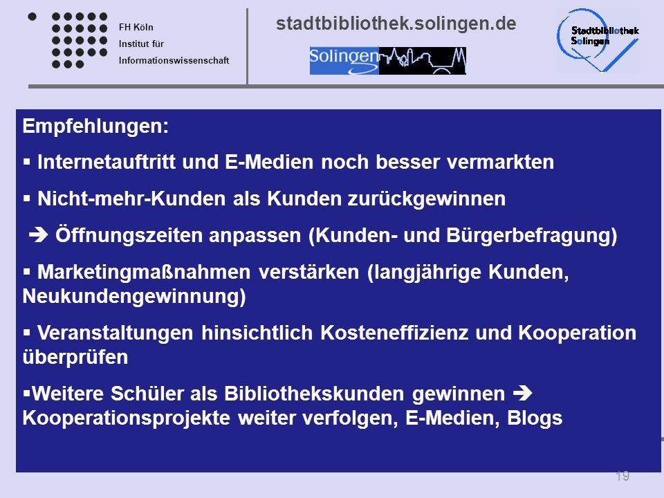 FH Köln Institut für Informationswissenschaft Prof. Seidler-de Alwis, MBA – Prof. Dr. Fühles-Ubach stadtbibliothek.solingen.de Empfehlungen: Interneta