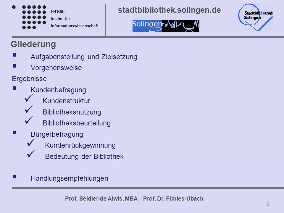 FH Köln Institut für Informationswissenschaft Prof. Seidler-de Alwis, MBA – Prof. Dr. Fühles-Ubach stadtbibliothek.solingen.de Gliederung Aufgabenstel