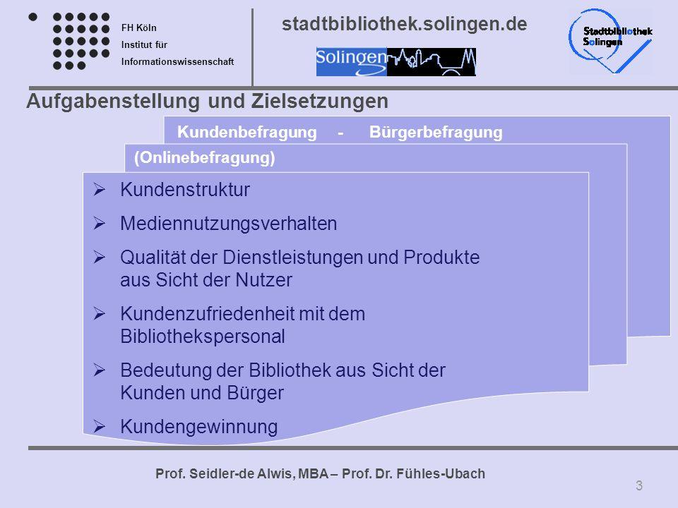 FH Köln Institut für Informationswissenschaft Prof. Seidler-de Alwis, MBA – Prof. Dr. Fühles-Ubach stadtbibliothek.solingen.de Aufgabenstellung und Zi