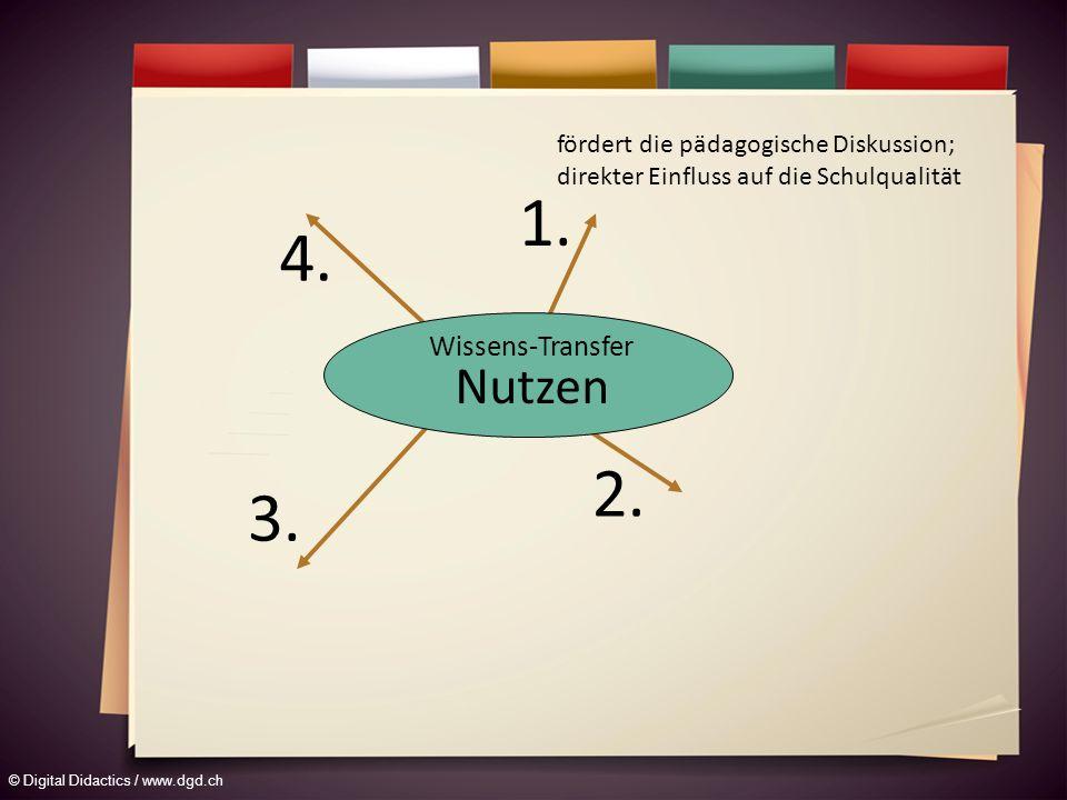 © Digital Didactics / www.dgd.ch fördert die pädagogische Diskussion; direkter Einfluss auf die Schulqualität Wissens-Transfer Nutzen 1.
